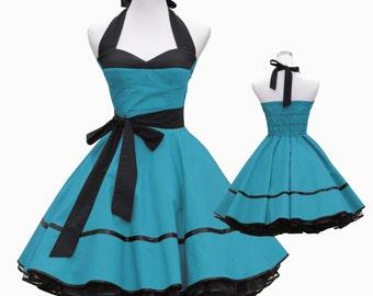 50's vintage dress full skirt cloud turquoise black corsage design custom made Retro