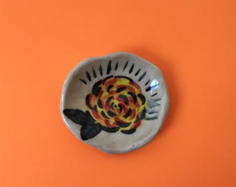 Tiny yellow rose ceramic ring dish. Handmade, one of a kind clay plate.