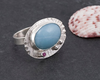 Amazonite ring - sterling silver and gemstone with lab grown pink sapphire, blue gemstone, one of a kind, handmade, unique, bold, statment