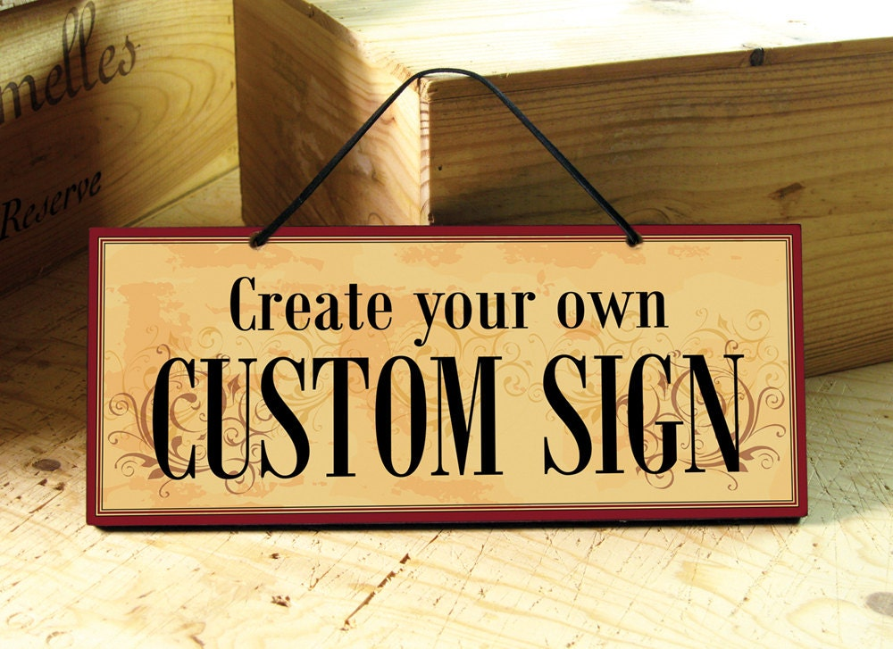 Custom Sign In Yellow Red & Brown. Business Sign. Restaurant
