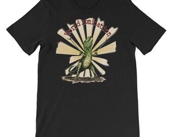 "Mighty T Rex  ""World Domination"" Unisex t-shirt short sleeve Tyrannosaurus Dino tRex Dinosaur by Agorables"