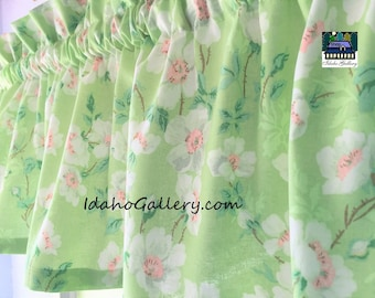 Floral Curtain Mint Green with White Blossoms Kitchen Curtain Short Valance Green Curtain Window Treatment Spring Decor by Idaho Gallery
