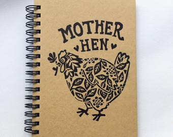 Mother Hen- Lino Print A6 Hardback Notebook Hand-Printed