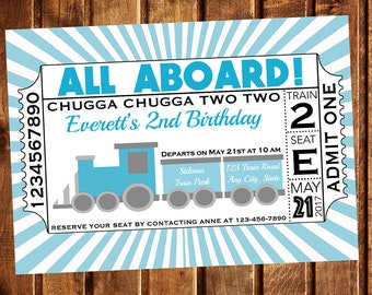 Train Invitation, Train Birthday Invitation, Train Ticket Invitation, Chugga Chugga Two Two Invitation, Train Party, Choo Choo Train Invite