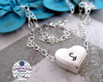 Hand stamped Custom Heart initial Necklace