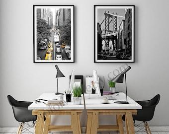 New York/Black and white photography/set of 2 prints/large wall art/New York photography/Empire State/Manhattan Bridge/New York print