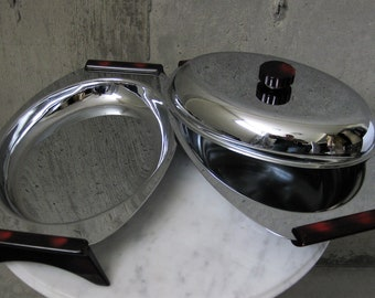 Glo Hill 1950s Gourmates Chrome Stainless Serving  Dishes Oval Lidded Bakelite Vintage Mid Century Modern