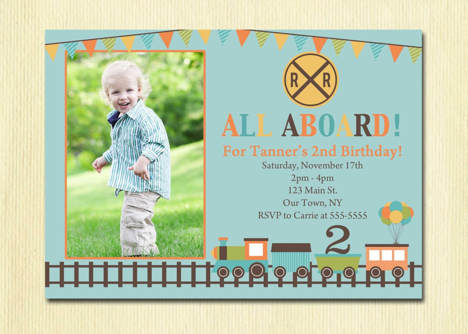 Train Birthday Invitation Boys 1st 2nd 3rd 4th