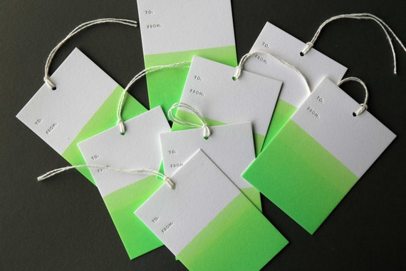 """Set of 8 GREEN hand dip dyed and letterpress printed gift tags, 2.5 x 3.5"""" with twine"""
