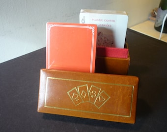 Vintage Bridge Set Playing Cards in Leather Box Made in England- Unopened card decks - ready for game night - Never Used