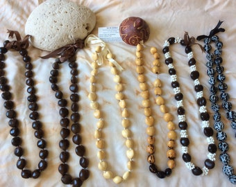6 Various kukui Lei of different length and styles