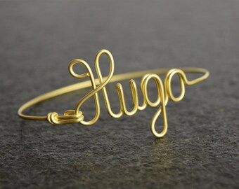 Custom Bracelet, Customized Bangle, Name Bracelet, Handmade Bangle, Wire Brass Bangle, Personalized Jewelry