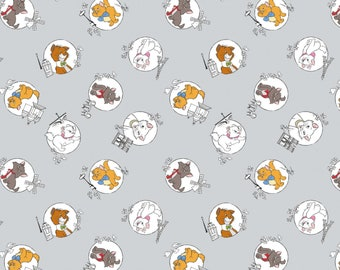 Disney Fabric The Aristocats Mom & Kittens in Light Grey Fabric From Camelot 100% Premium Cotton