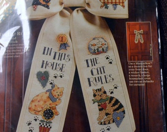 """Front Door Bow """"The Cat Rules"""" Counted Cross Stitch Kit Dimensions Counted Cross Stitch"""