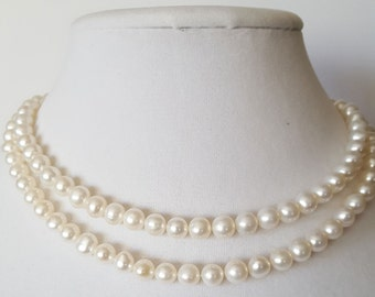 Freshwater Pearl Necklace, 32 inches, hand knotted, 7mm white pearls