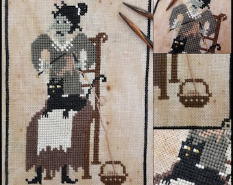 The Cat of the Knitter Witch - PDF Cross Stitch Pattern