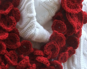 Scarfette Crochet PATTERN Instant Download - Red Hearts Valentine Scarfette or Shells Scarfette - January Project of the Month