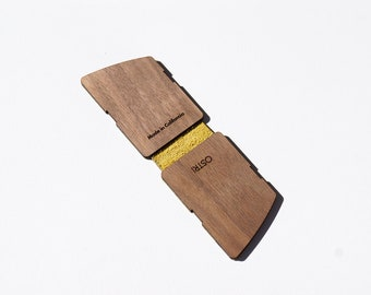 Wood Leather Card Wallet (CURV DUO/YELLOW) by Ostri