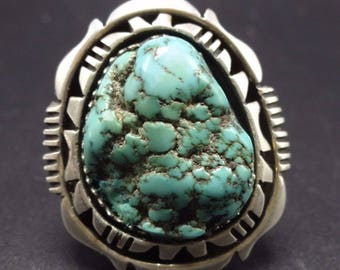 Signed Vintage NAVAJO Sterling Silver & SEAFOAM TURQUOISE Ring, size 10.25