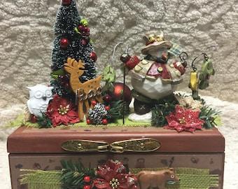 HANDCRAFTED Keepsake Box! - Fishing Snowman