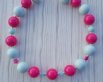 Light blue and bright pink with stars