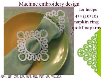 Machine embroidery designs  motif napkins napkin ring lace embroidery design   lace doily Design 4*4  FSL ITH Embroidery Instant Download.