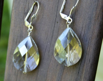 Teardrop AB Crystal Earrings with Silver Lever Backs