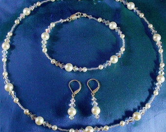 Freshwater Pearl and Swarovski Crystal Necklace, Bracelet and drop Earring, delicate beaded illusion style