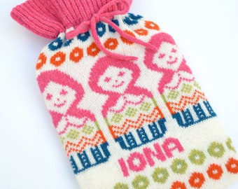 Personalised Knitted Russian Doll Knitted Hot Water Bottle Cozy cosy