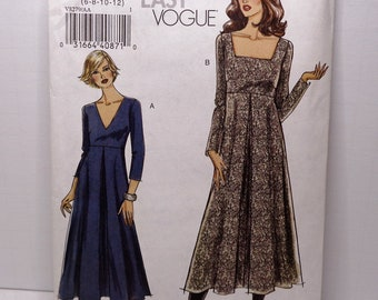 Easy Vogue Dress Sewing Pattern V8279 Above Ankle Dress Fitted Bodice Casual Everyday Pleated Flared Skirt Pattern Size 6 8 10 12 New Uncut