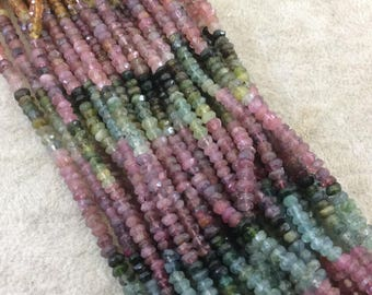"""Holiday Special! 2-3mm x 2-3mm Faceted Natural Mixed Tourmaline Rondelle Shaped Beads - Sold per 13"""" Strand (Approx. 155 Beads)"""
