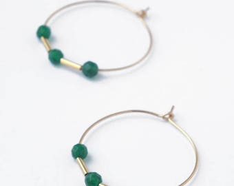 Gold filled jade hoop earrings, Green agate gemstone dangle earrings, Simple earrings, Natural stone, Dainty gold jewelry, Stone jewelry