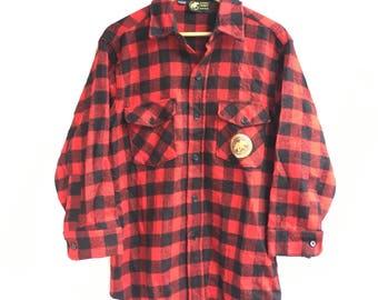 Vtg Hunting World NYC Plaid Check Flannel Shirt Size M