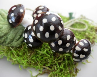 Brown Spun Cotton, Spotted Mushrooms with Moss