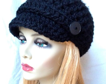 Crochet Womens Hat, Newsboy, Black, Very Soft Chunky, Buttons, Warm, Teens, Winter, Ski Hat, JE808N