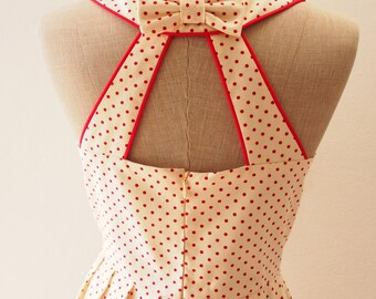 LOVE POTION - Petite Red Polka Dot Dress, Cute Summer Dress, Retro Rockabilly Mod Dress, Red Party Dress, Size S, L,XL