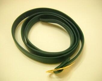 """Vintage 34"""" Forest Green Leather Belt (4612)"""