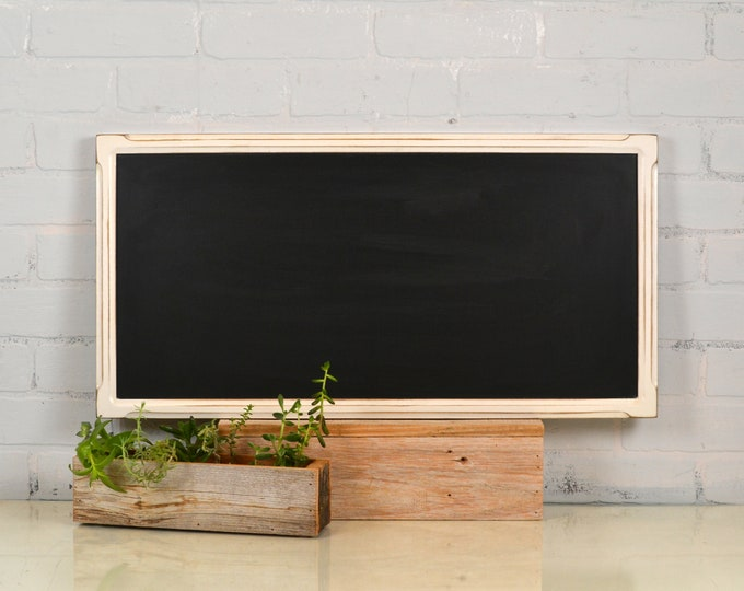 Chalkboard with Wood Frame in Vintage White - Outside Dimensions 26.5 x 13.5 inches - Wedding Signage - IN STOCK - Same Day Shipping