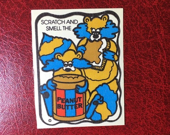 Vintage Mello Smello Scratch and Sniff Sticker- Peanut Butter- Great Scent!!!
