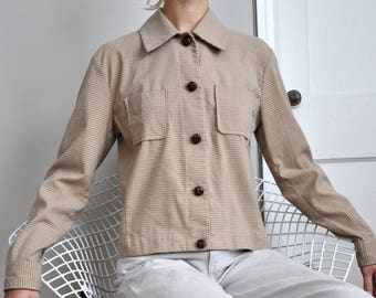 Vintage 90s Minimal Brown and Tan Grid Print Boxy Button Up Jacket, Size Small Medium