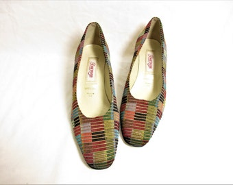 vintage french multicolored textile and leather medium heel shoes  ; size : EU 35 1/2 / US Women's 5 1/2 / UK Women's 3