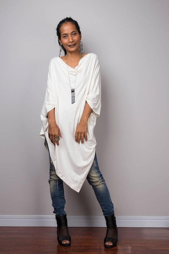 White tunic Off White Sweater Dress Batwing Tunic Top
