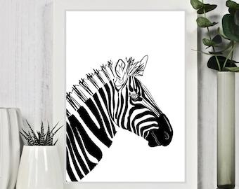 Zebra Illustration Art Print