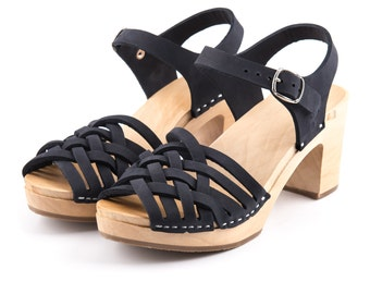 SALE 20% Clogs | Sandals | Wooden clogs | Swedish clogs | boho | shoes | Kulikstyle | Women shoes | wooden clogs | Swedish clogs | Navy Blue