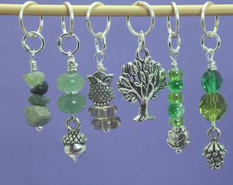 Deep in the Forest Stitch Marker Set, Knitting or Crochet Markers, Gift for Knitters, Knitting Tools, Forest Theme Markers, Crochet Tools