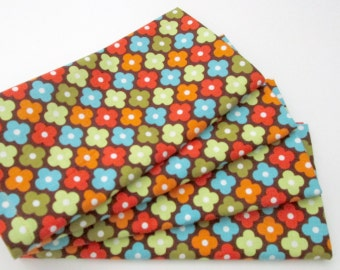 Cloth Napkins - Set of 4 - Red Blue Green Brown Geometric Flowers - Table, Dinner, Everyday, Wedding