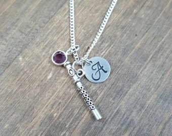 Personalized Flute Necklace - Hand stamped Monogram Flutist Necklace - Initial, Birthstone Necklace - Orchestra Member Necklace