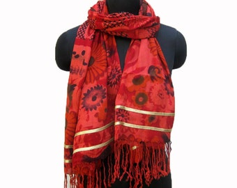 Red scarf/ fashion scarf/ floral scarf/ cotton scarf/ lace scarf/ long scarf/ gift scarf / gift ideas.