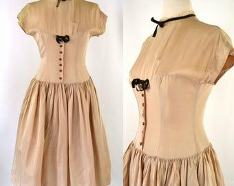 1950s Beige Tan Shirtwaist Dress by Twixtween, Needs TLC, Pin Up, Rockabilly