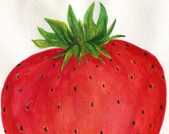 Strawberry  Top Watercolor Painting  original ART, 5 x 7 , Fruit painting,  Strawberry watercolors paintings original Farmhouse Decor